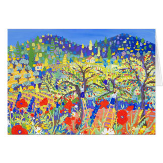 Art Card: Cherries, Poppies and Daisies, Provence Greeting Card