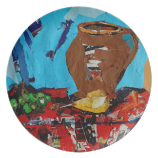 Art Collage Still Life Melamine Plate