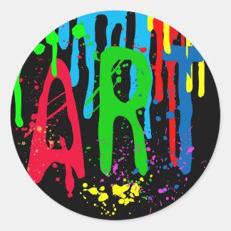 ART color paint funny black Classic Round Sticker