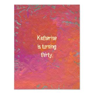 "Art colorful pink orange fun painting customized 4.25"" x 5.5"" invitation card"