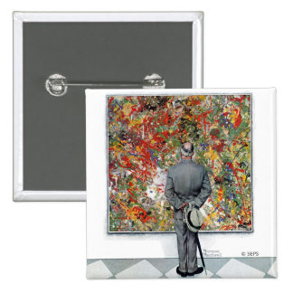 Art Connoisseur by Norman Rockwell 15 Cm Square Badge