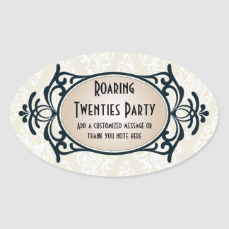Art Deco 1920s Party Oval Sticker