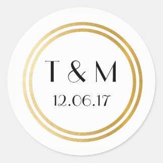 Art Deco 1920s Stickers White Gold Round Label