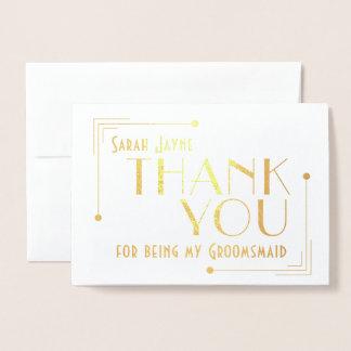 Art Deco 1920s Thank You Groomsmaid Foil Card