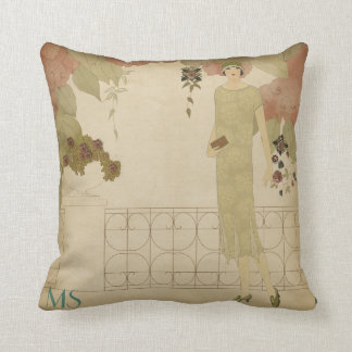 Art Deco 1920s Twenties Olive Vintage Monogram Cushion