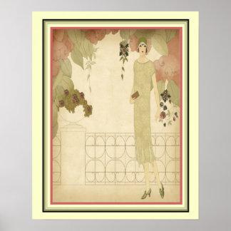 Art Deco 1922 Fashion Illustration 16x20 Poster