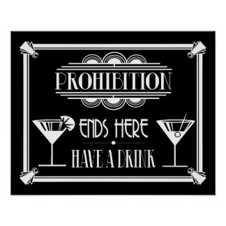 """Art Deco 20's style """"Cocktail Bar sign WHITE Poster"""
