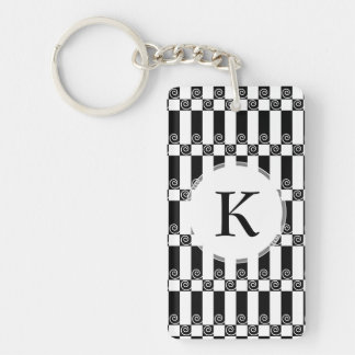 Art Deco Abstract / Vienna Secession Geometric Double-Sided Rectangular Acrylic Key Ring