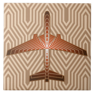 Art Deco Airplane, Bronze, Gold and Rust Brown Ceramic Tile