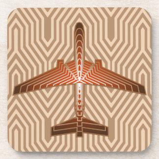 Art Deco Airplane, Bronze, Gold and Rust Brown Coaster
