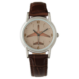 Art Deco Airplane, Bronze, Gold and Rust Brown Watch