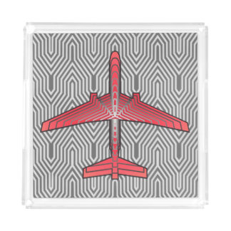 Art Deco Airplane, Coral Orange and Silver Gray Acrylic Tray