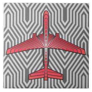 Art Deco Airplane, Coral Orange and Silver Gray Ceramic Tile