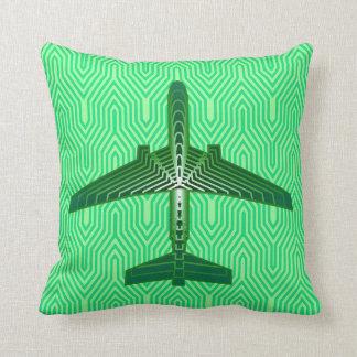Art Deco Airplane, Emerald and Jade Green Cushion