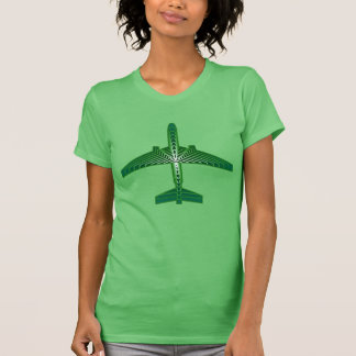 Art Deco Airplane, Emerald and Jade Green T-Shirt