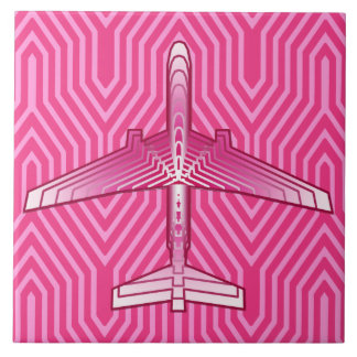 Art Deco Airplane, Fuchsia and Pastel Pink Ceramic Tile