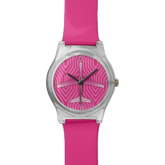Art Deco Airplane, Fuchsia and Pastel Pink Watch