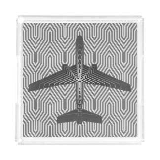 Art Deco Airplane, Graphite and Silver Gray Acrylic Tray