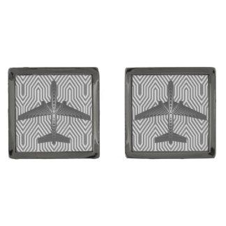 Art Deco Airplane, Graphite and Silver Gray Gunmetal Finish Cufflinks