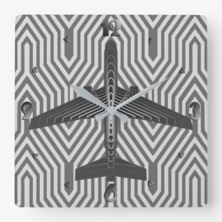 Art Deco Airplane, Graphite and Silver Gray Square Wall Clock