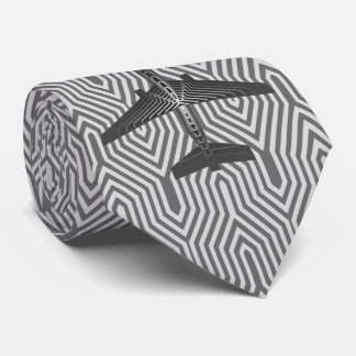 Art Deco Airplane, Graphite and Silver Gray Tie