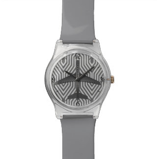 Art Deco Airplane, Graphite and Silver Gray Watch