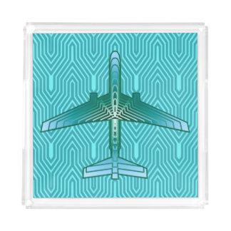 Art Deco Airplane, Turquoise, Teal and Aqua Acrylic Tray