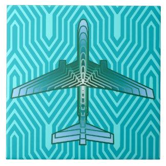 Art Deco Airplane, Turquoise, Teal and Aqua Ceramic Tile