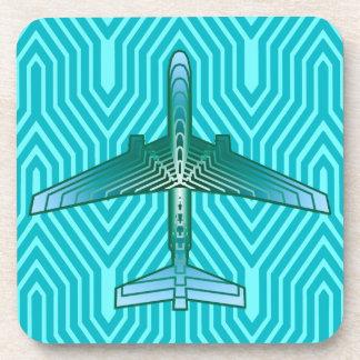 Art Deco Airplane, Turquoise, Teal and Aqua Coaster