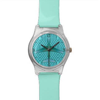 Art Deco Airplane, Turquoise, Teal and Aqua Watch