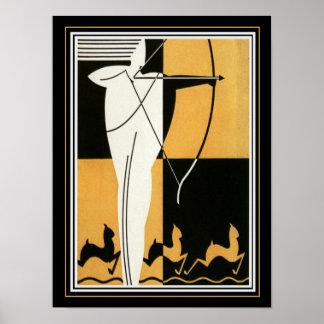 "Art Deco ""Archer & Antelope"" 12 x 16 Poster"