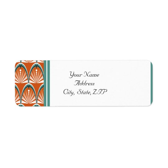 Art Deco Arches in Orange and Teal Wedding Return Address Label