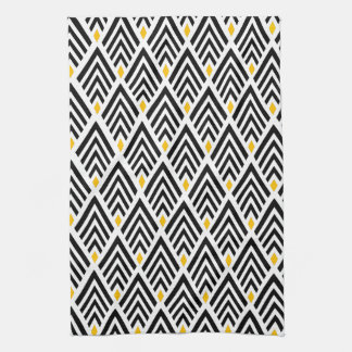 Art Deco Arrows with Gold Accent Pattern Tea Towel