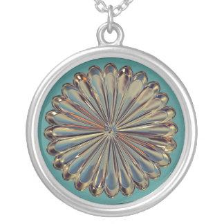 Art deco/art nouveau jewel flower medalli necklace
