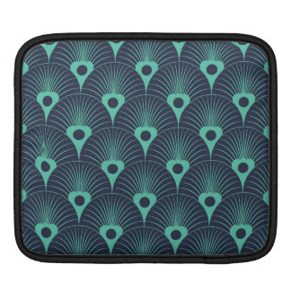 art deco, art nouveau, vintage,teal,green,blue,fan iPad sleeve