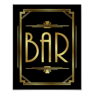Art Deco BAR Sign Print