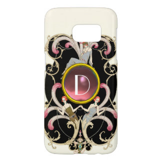 ART DECO BEAUTY FASHION PINK GEMSTONE MONOGRAM