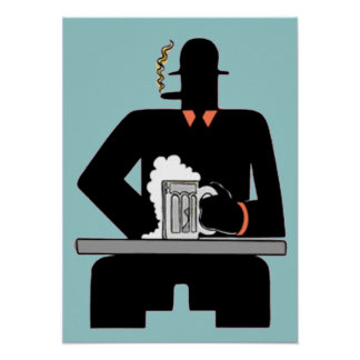 Art Deco Beer Drinker Poster