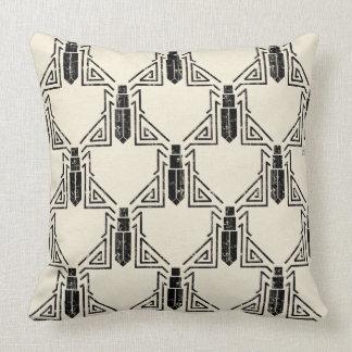 Art Deco Beetle Pattern - Black on Cream Throw Pillow