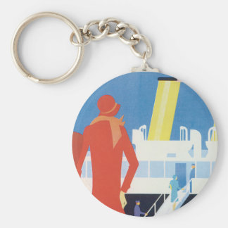 Art Deco Belgian Ferry Poster Basic Round Button Key Ring
