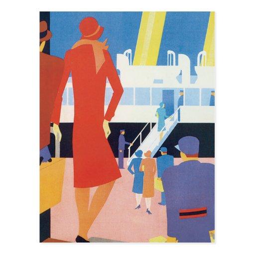 Art Deco Belgian Ferry Poster Post Card