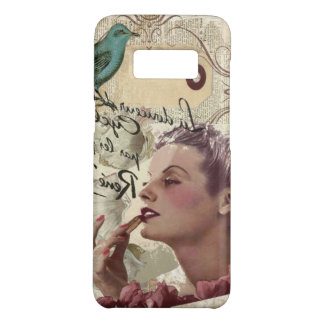 Art deco bird  french scripts great gatsby girl Case-Mate samsung galaxy s8 case