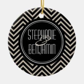 Art Deco Black and Beige Chevron Pattern Ceramic Ornament