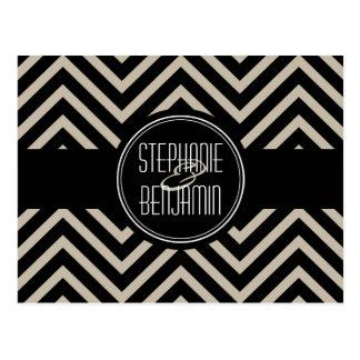 Art Deco Black and Beige Chevron Pattern Postcard