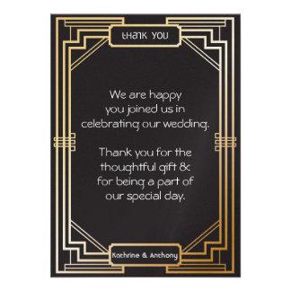 Art Deco Black and Gold Gatsby Thank You Custom Invite