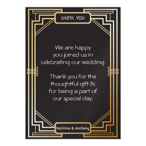 Art Deco Black and Gold Gatsby Thank You Custom Invite