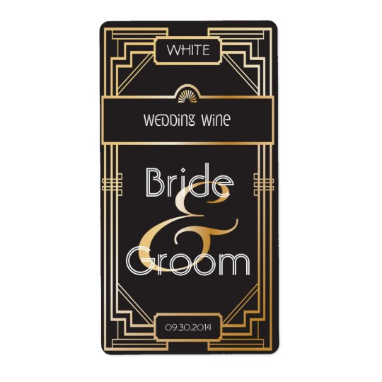 Art Deco Black and Gold Gatsby Wedding Wine Label