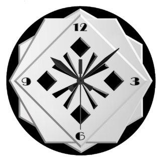 Art Deco black and white geometric pattern Large Clock