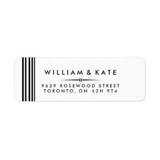 Art deco Black and white Return Address Labels