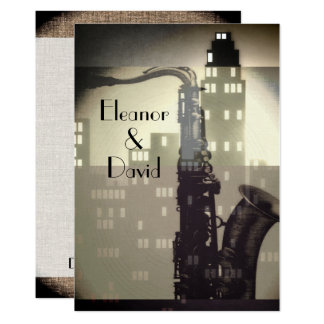 Art Deco black and white skyline glamour wedding Card
